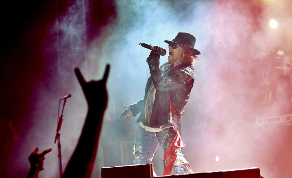 Photo - Axl Rose, lead vocalist of Guns N' Roses performs during their concert in Bangalore, India, Friday, Dec. 7, 2012. This is the first ever performance of the American rock band in India. (AP Photo/Aijaz Rahi)