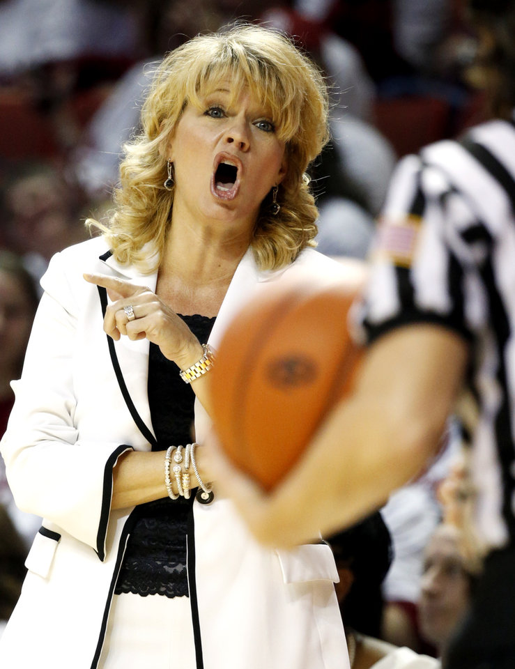 Photo - Oklahoma Sooners head coach Sherri Coale reacts to a call in the second half as the University of Oklahoma Sooners (OU) defeat the University of Texas (UT) Longhorns 69-56 in NCAA, women's college basketball at The Lloyd Noble Center on Saturday, Jan. 19, 2013 in Norman, Okla. Photo by Steve Sisney, The Oklahoman