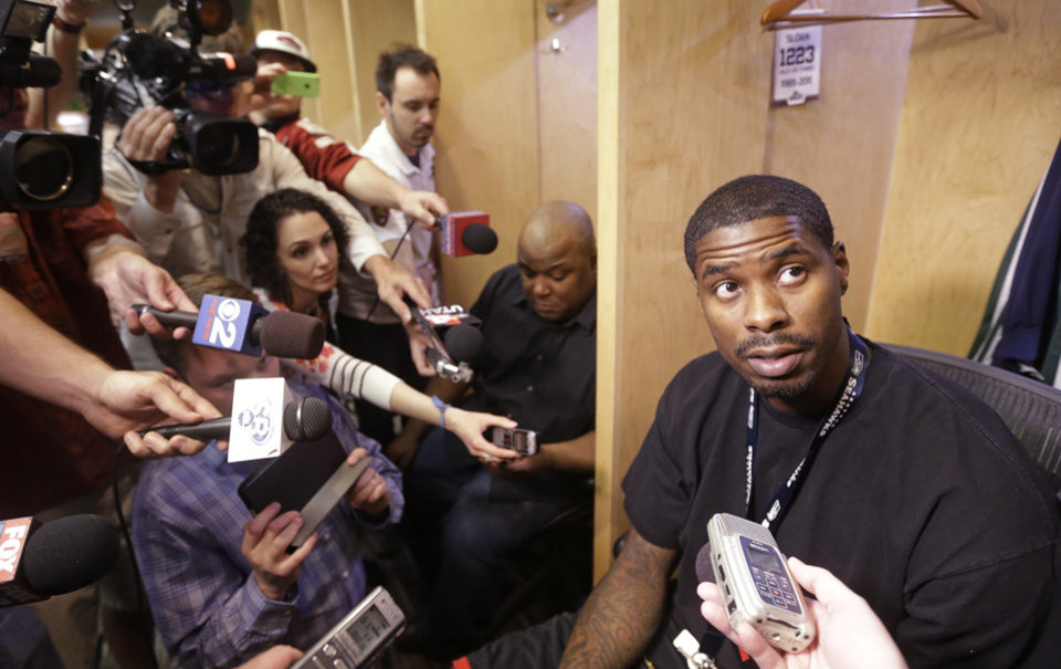 Photo - Utah Jazz's Marvin Williams speaks to the media on the day the Jazz cleaned out their lockers after a 25-57 season, Thursday, April 17, 2014, in Salt Lake City. (AP Photo/Rick Bowmer)