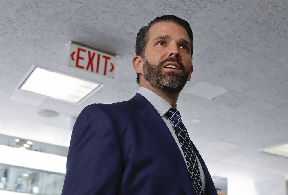 Photo -  Donald Trump Jr., the son of President Donald Trump, is seen leaving after having met privately with members of the Senate Intelligence Committee, Wednesday on Capitol Hill on Washington. [Pablo Martinez Monsivais/The Associated Press]