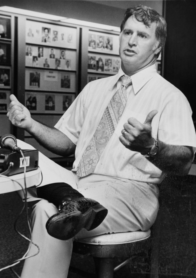 Photo - Talking with the media Nov. 22, 1978: Oklahoma State University (OSU) football coach Jim Stanley