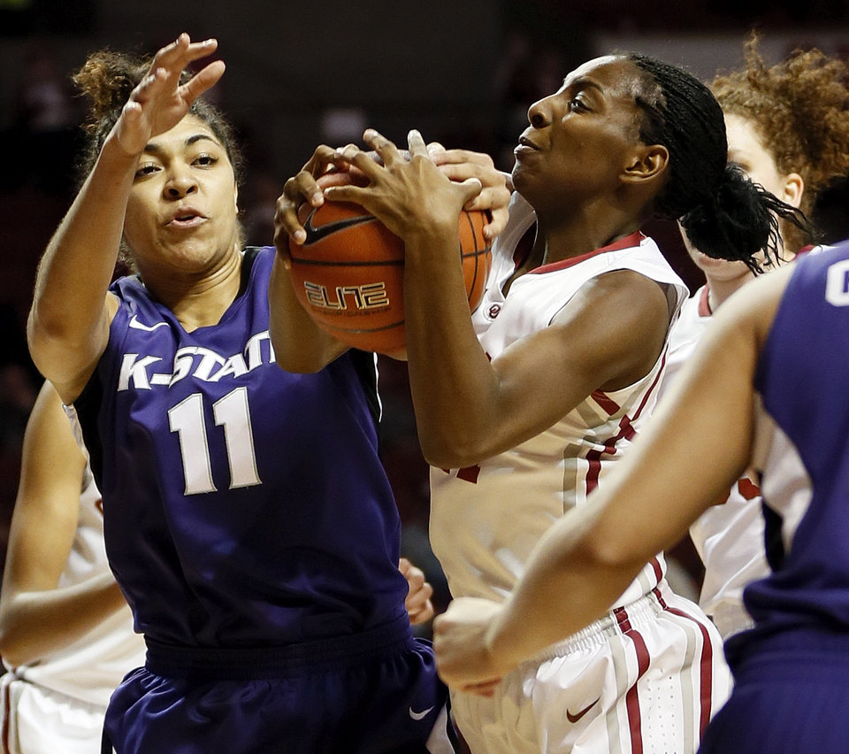 Oklahoma\'s Sharane Campbell (24) and Kansas State\'s Chantay Caron (11) battle for the ball during an NCAA women\'s college basketball game between the University of Oklahoma (OU) and Kansas State at Lloyd Noble Center in Norman, Okla., Wednesday, Feb. 20, 2013. Photo by Nate Billings, The Oklahoman