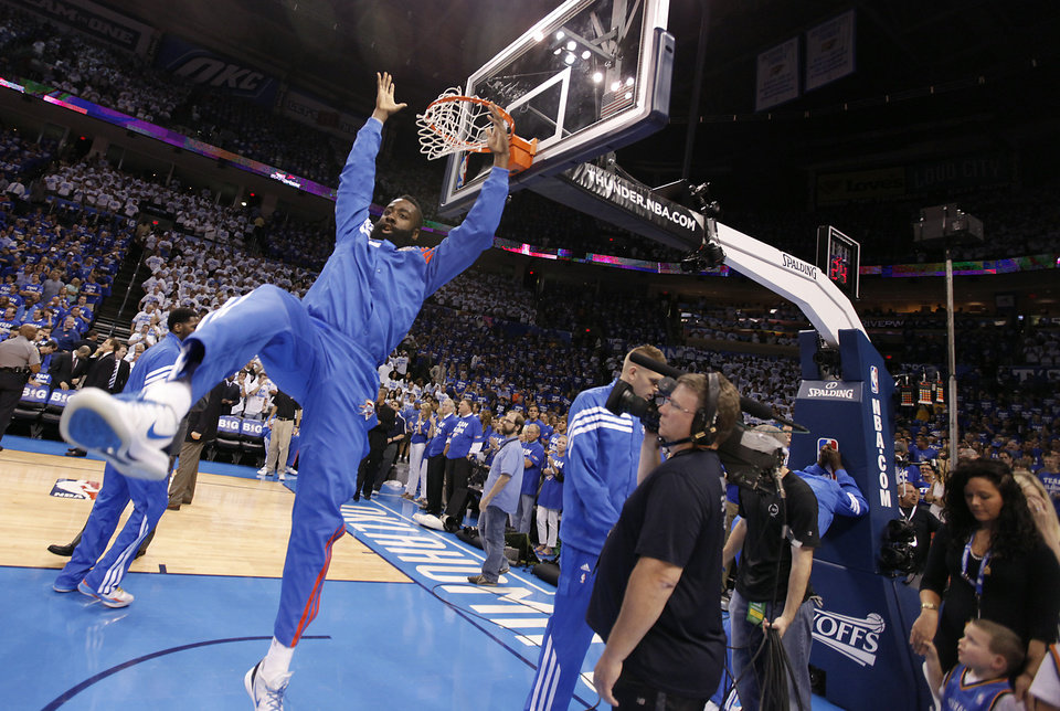 Photo - Oklahoma City's James Harden warms up before the game during Game 2 in the second round of the NBA playoffs between the Oklahoma City Thunder and the L.A. Lakers at Chesapeake Energy Arena on Wednesday, May 16, 2012, in Oklahoma City, Oklahoma. Photo by Chris Landsberger, The Oklahoman