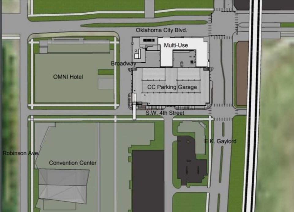 Photo -  The proximity of the 1,100-space garage to the convention center, Omni Hotel, Boulevard Place and Scissortail Park is shown in this site map.
