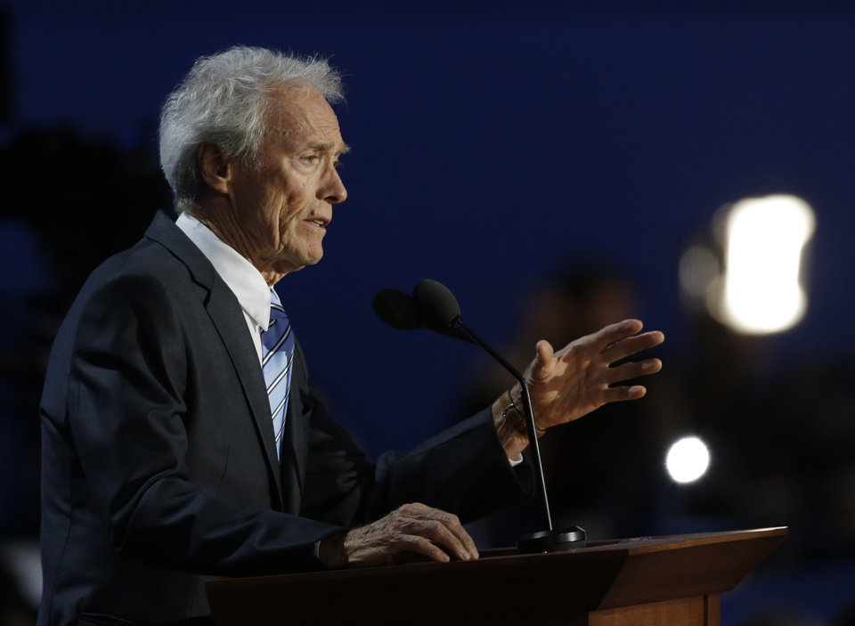 Photo -   Actor Clint Eastwood speaks to delegates during the Republican National Convention in Tampa, Fla., on Thursday, Aug. 30, 2012. (AP Photo/Charlie Neibergall)