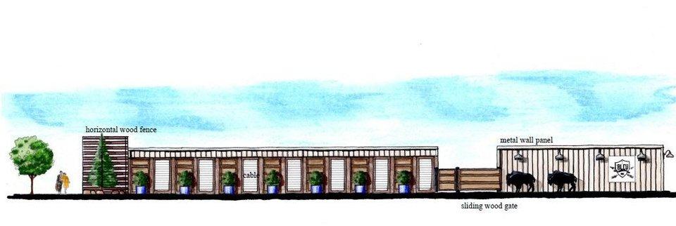 Photo - The proposed Bleu Garten at NW 10 and Harvey is set for an initial three-year lease that could be extended pending any future longterm development of the block.  Drawing provided by Chris Teehee, with Teehee Designs     - Chris Teehee with Teehee Designs