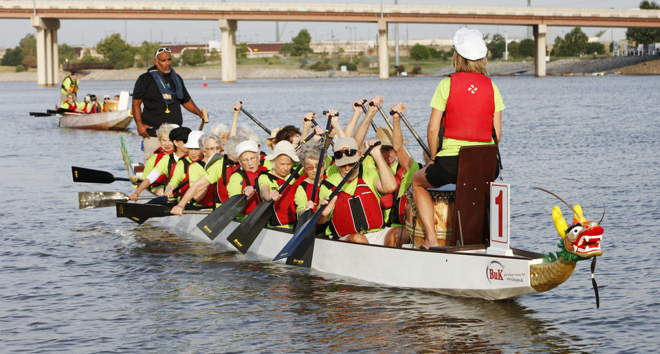 Senior citizens from Spanish Cove Retirement Village go dragon boating on the Oklahoma River in Oklahoma City Thursday, Aug. 16, 2012.  Photo by Paul B. Southerland, The Oklahoman <strong>PAUL B. SOUTHERLAND - PAUL B. SOUTHERLAND</strong>