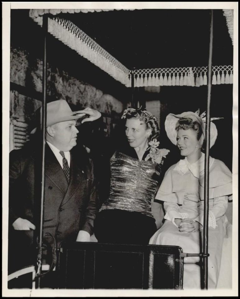 Photo -  Governor Robert S. Kerr, his wife and Evelyn Wyckoff in the surrey from the stage musical