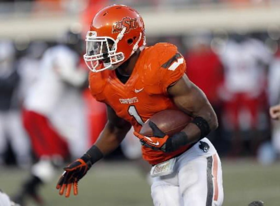 Photo - Oklahoma State's Joseph Randle (1) rushes during a college football game between Oklahoma State University and the Texas Tech University (TTU) at Boone Pickens Stadium in Stillwater, Okla., Saturday, Nov. 17, 2012. Photo by Sarah Phipps