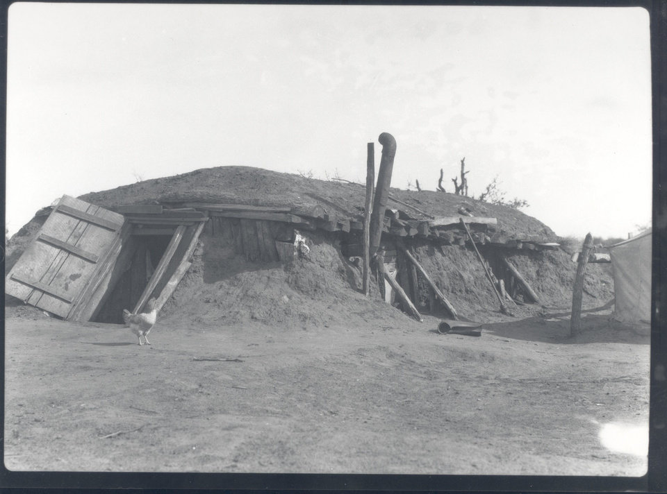 Photo - This photo shows a dugout, a home partly underground with a kind of basement, in Oklahoma Territory days. Oklahomans are less inclined to pay the extra cost to have a basement today, homebuilders say.   - PROVIDED BY OKLAHOMA HISTORICAL