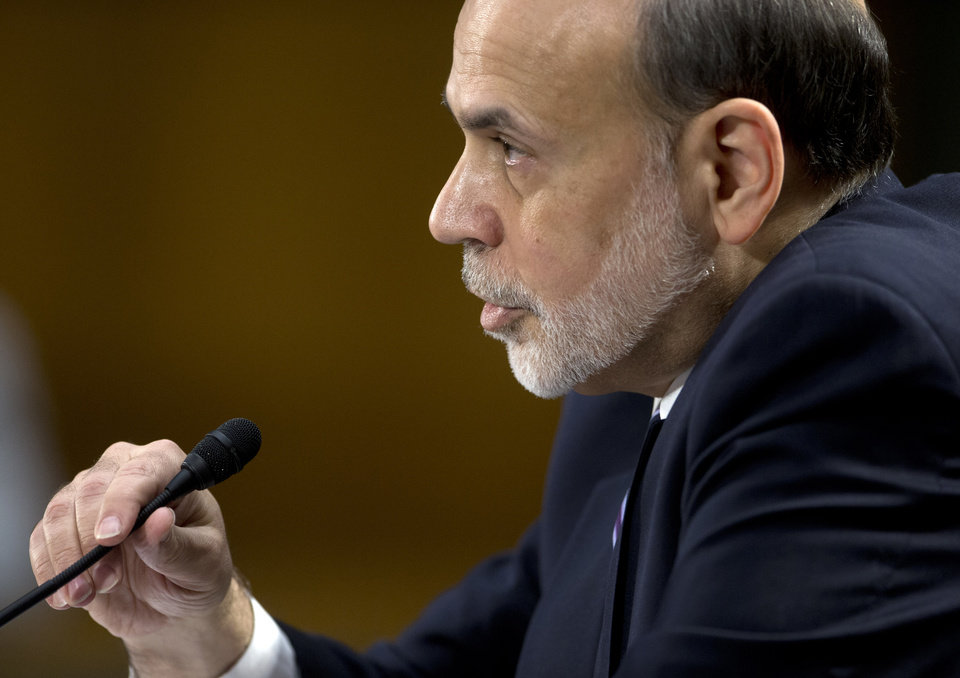 Federal Reserve Board Chairman Ben Bernanke testifies on Capitol Hill in Washington, Tuesday, Feb. 26, 2013, before the Senate Banking Committee hearing to deliver the central bank\'s Semiannual Monetary Policy Report to the Congress. (AP Photo/Carolyn Kaster)