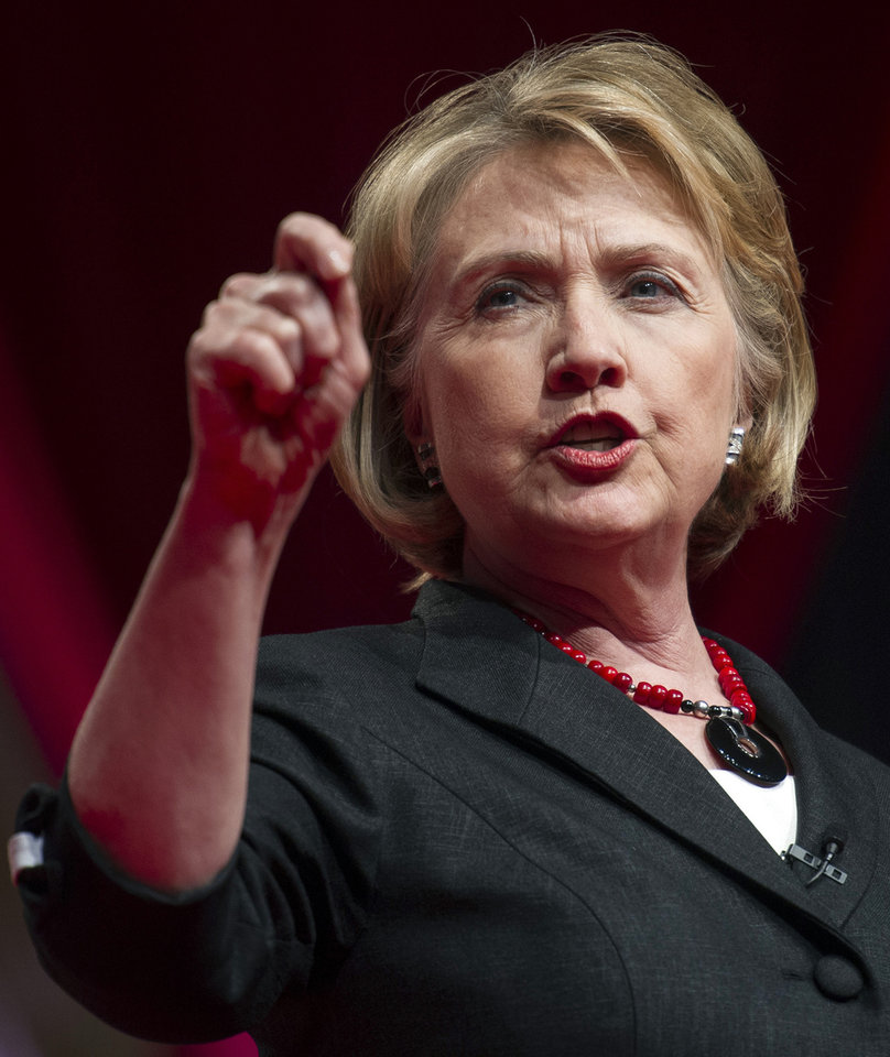 Photo - FILE - This July 16, 2013 file photo shows former Secretary of State Hillary Rodham Clinton addressing the 51st Delta Sigma Theta National Convention in Washington. NBC says it's planning a four-hour miniseries about Hillary Rodham Clinton. The project, titled
