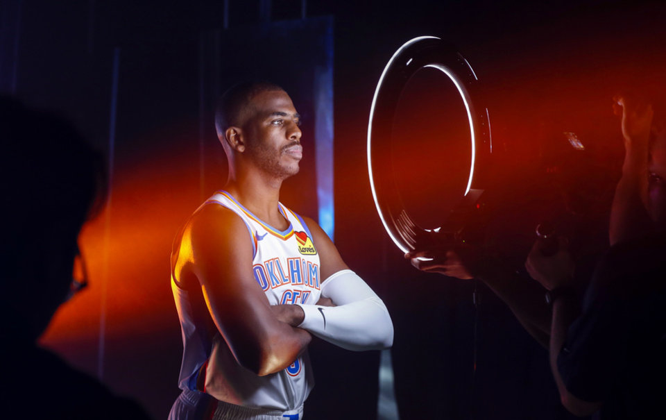 Photo - Oklahoma City's Chris Paul poses during a photo shoot at media day for the Oklahoma City Thunder NBA basketball team at Chesapeake Energy Arena in Oklahoma City, Monday, Sept. 30, 2019. [Nate Billings/The Oklahoman]