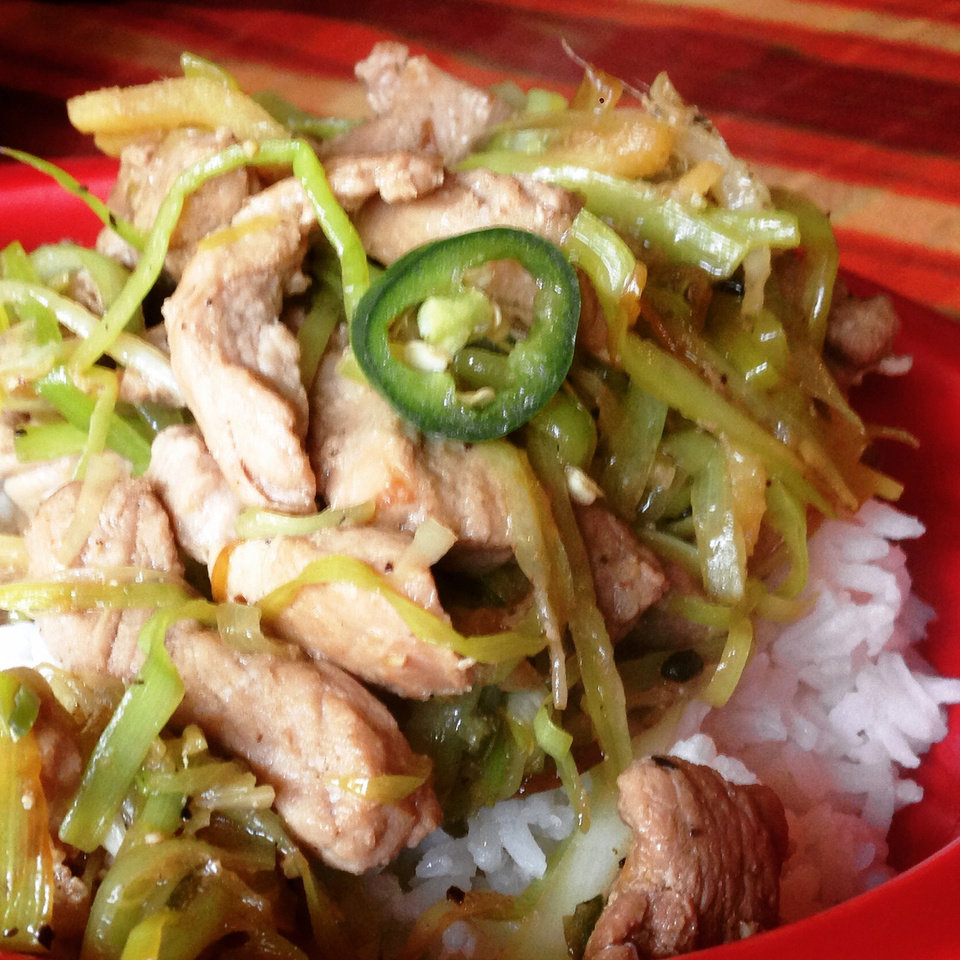 Photo -  Pork with leeks.