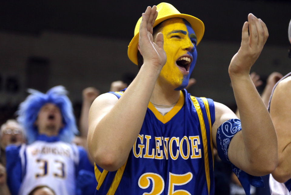 Photo - Glencoe fan Brent Cook cheers during the Class A boys state championship between Glencoe and Weleetka  at the State Fair Arena.,  Saturday, March 2, 2013. Photo by Sarah Phipps, The Oklahoman
