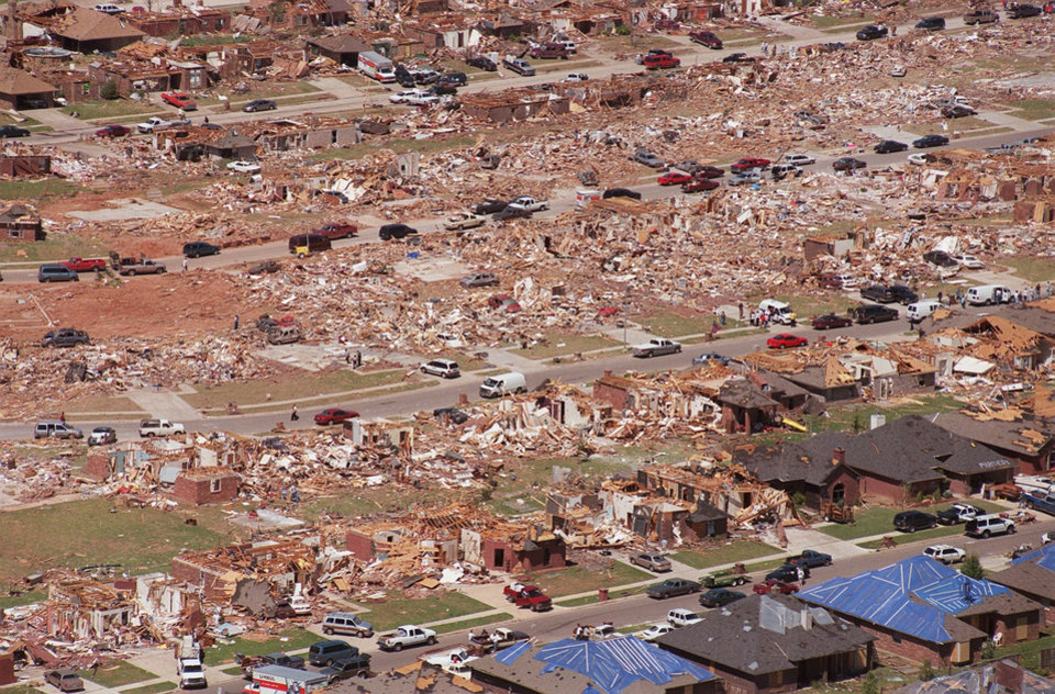 Tornado damage, aerial photos: A south OKC neighborhood just West of Moore.