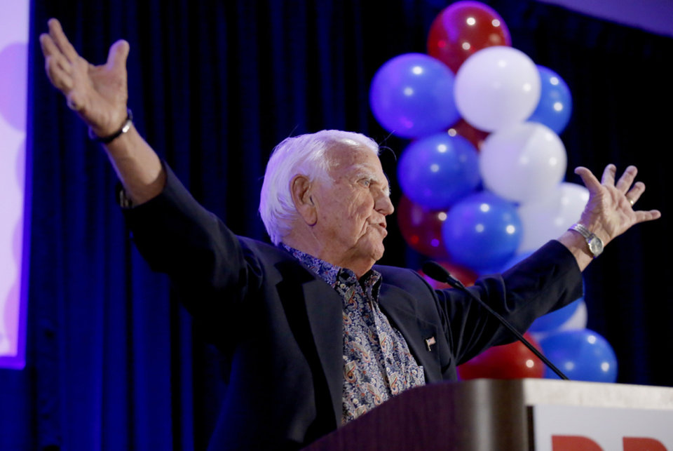 Photo - Former Oklahoma governor George Nigh speaks during a watch party for Drew Edmondson and the democratic party at the Embassy Suites  in Oklahoma City, Tuesday, Nov. 6, 2018. Photo by Sarah Phipps, The Oklahoman