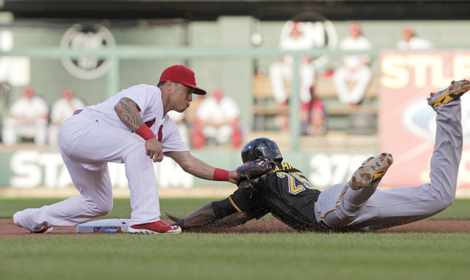 Photo - St. Louis Cardinals second baseman Kolten Wong (16) applies a late tag as Pittsburgh Pirates' Gregory Polanco (25) steals second in the first inning of a baseball game, Tuesday, July 8, 2014 in St. Louis. (AP Photo/Tom Gannam)