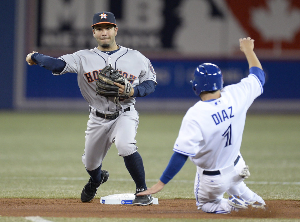 Photo - Houston Astros shortstop Jonathan Villar throws to first for the double play as Toronto Blue Jays' Jonathan Diaz is out at second during the third inning of baseball game in Toronto on Thursday, April 10, 2014. Melky Cabrera was out at first. (AP Photo/The Canadian Press, Frank Gunn)