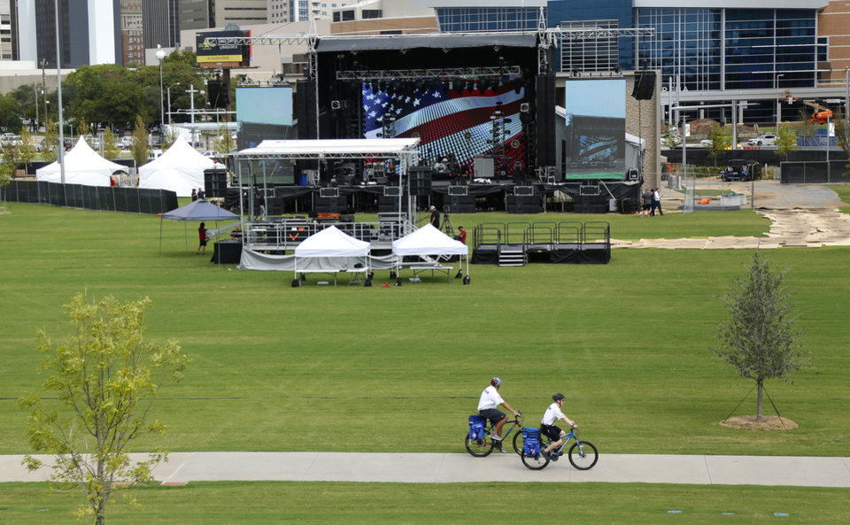 Photo - Preparations are wrapping up for the opening night Kings of Leon concert to kick off the grand opening weekend of Scissortail Park Thursday, September 26, 2019. [Doug Hoke/The Oklahoman]
