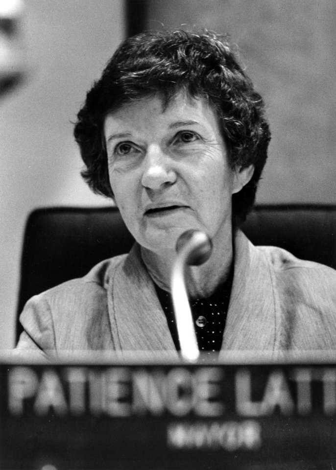 Oklahoma City Mayor Patience Latting runs a City Council meeting from her seat in the middle of the council chamber's horseshoe-shaped desk. Staff photo by Roger Klock taken 8/25/81.