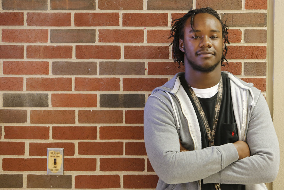Photo - Oklahoma's Promise scholarship recipient Jas'Sen Stoner poses for a photo at the University of Central Oklahoma in Edmond, where he is a sophomore. His goals are to be a fire inspector and play professional football. Photo By Steve Gooch, The Oklahoman  Steve Gooch