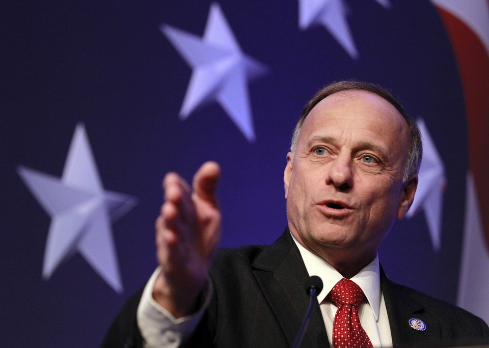 Photo -   FILE - In this Feb. 10, 2011 file photo, Rep. Steve King, R-Iowa speaks in Washington. Republican-leaning areas in states vital to President Barack Obama's re-election prospects are drawing top-tier Democratic congressional candidates who, even if they lose, could help turn out the vote and boost Obama's chances of winning a second term. The best example of the trend is former Iowa first lady Christie Vilsack, challenging GOP Rep. Steve King in Iowa's 4th Congressional District. (AP Photo/Alex Brandon, File)