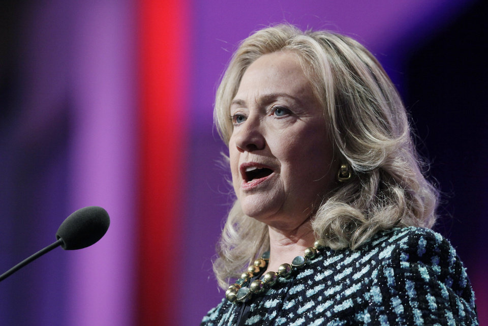 Photo -   United States Secretary of State Hillary Rodham Clinton speaks at the Clinton Global Initiative, Monday, Sept. 24, 2012 in New York. (AP Photo/Mark Lennihan)