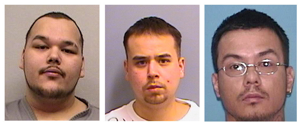 FILE - This file photo combo shows, from left, alleged Native Mob gang members Arthur Francis Cree, William Earl Morris, and Wakinyon Wakan McArthur, right. Three alleged members of a violent American Indian gang known for terrorizing people in the Upper Midwest were convicted Tuesday March 19, 2013 in what authorities called one of the largest gang cases to come out of Indian Country. (AP Photos/Minn. Dept. of Corrections & U.S. Marshall\'s Service, File)