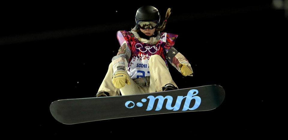 Photo - United States' Kaitlyn Farrington competes during the women's snowboard halfpipe final at the Rosa Khutor Extreme Park, at the 2014 Winter Olympics, Wednesday, Feb. 12, 2014, in Krasnaya Polyana, Russia. (AP Photo/Felipe Dana)
