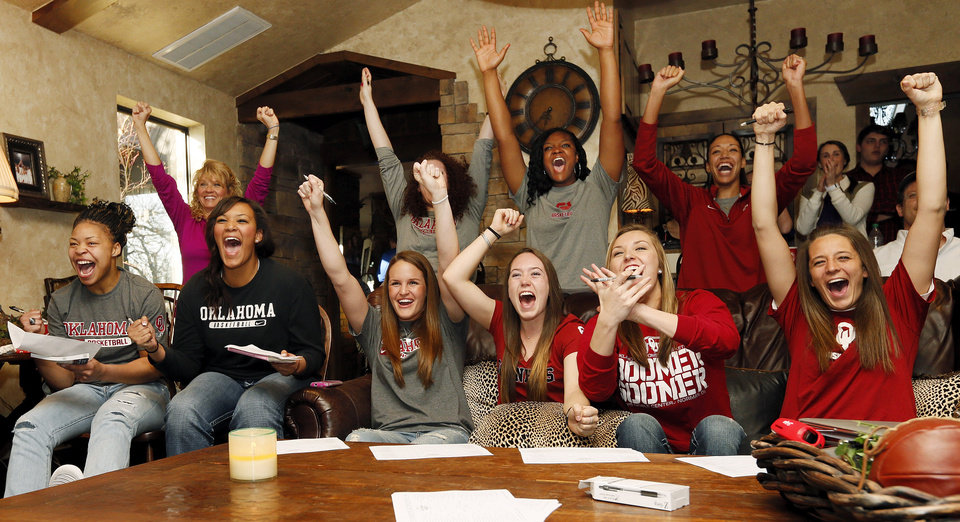 The OU Sooners react after seeing their draw during a watch party for the NCAA women\'s college basketball tournament selection show, at coach Sherri Coale\'s home in Norman, Okla., Monday, March 18, 2013. Photo by Nate Billings, The Oklahoman