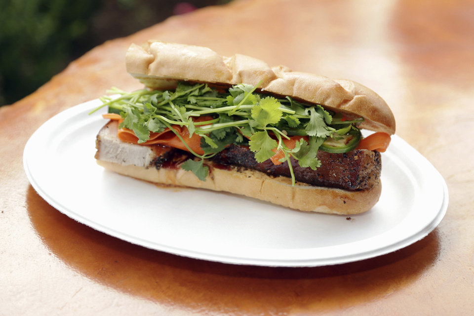 Photo - Chef Josh Valentine's pork belly sandwich. PHOTO BY TODD FRASER, THE OKLAHOMAN  Photo Provided - Photo Provided