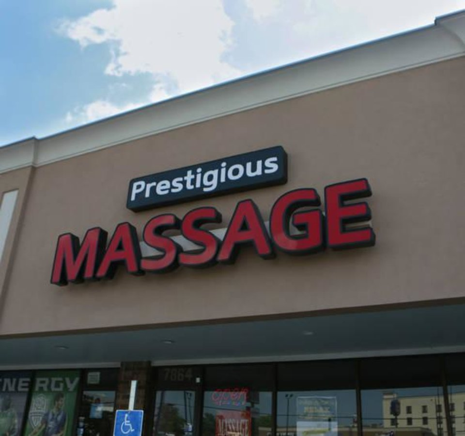 Photo -  Prestigious Massage, licensed as Prestige Massage, had an employee arrested last month. The massage parlor is lat 7864 S Western Ave. in Oklahoma City. [Photo by Jacob Derichsweiler, The Oklahoman]