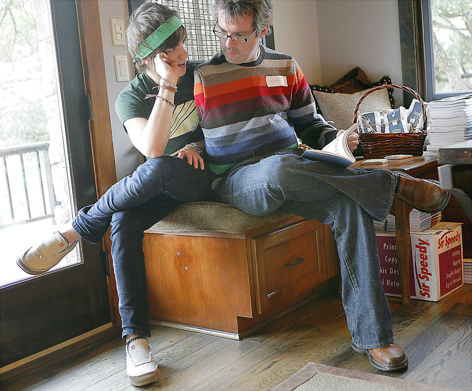 Photo - Jim Chastain spends time with his son Ford, 14, at the Blue Rock Review release party in November at a home near Austin, Texas.   PHOTO BY JOHN CLANTON, THE OKLAHOMAN