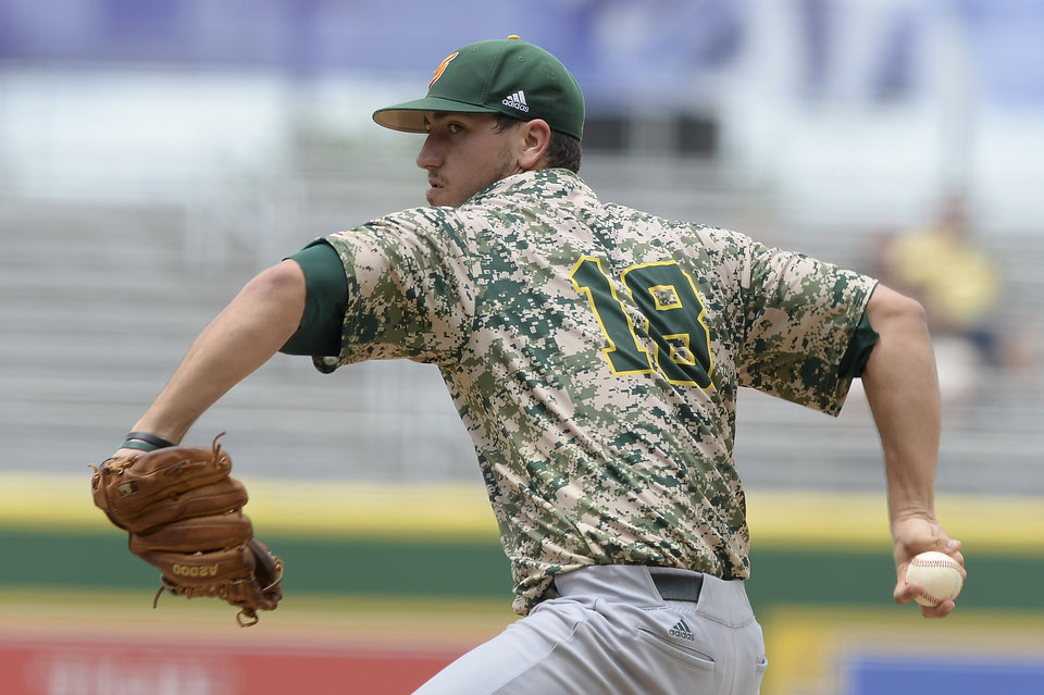 Photo - Southeastern Louisiana's Tate Scioneaux pitches against Bryant on Saturday, May 31, 2014, during the first round of an NCAA college baseball regional tournament in Baton Rouge, La. (AP Photo/The Baton Rouge Advocate, Hilary Scheinuk) NO SALES; MAGAZINES OUT; INTERNET OUT;TV OUT; NO FOREIGNS. LOUISIANA BUSINESS INC. OUT (INCLUDING GREATER BATON ROUGE BUSINESS REPORT; 225; 10/12; INREGISTER; LBI CUSTOM MAGS OUT/  INTERNET OUT/ ONLINE OUT/ NO SALES/  TV OUT/  FOREIGN OUT/ LOUISIANA BUSINESS INC. OUT (INCLUDING GREATER BATON ROUGE BUSINESS REPORT, 225, 10/12, INREGISTER, LBI CUSTOM PUBLICATIONS) MANDATORY CREDIT THE ADVOCATE