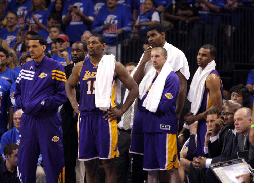 Photo - The Lakers' bench watch the final seconds during Game 5 in the second round of the NBA playoffs between the Oklahoma City Thunder and the L.A. Lakers at Chesapeake Energy Arena in Oklahoma City, Monday, May 21, 2012. Photo by Sarah Phipps, The Oklahoman