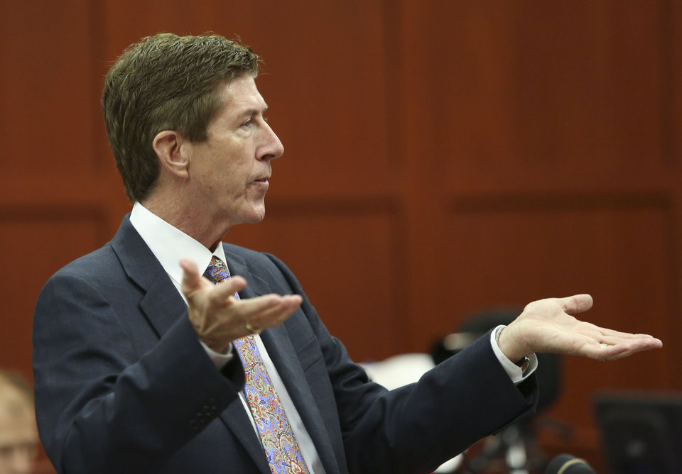 Defense attorney Mark O'Mara questions potential jurors during George Zimmerman's trial in Seminole circuit court in Sanford, Fla., Thursday, June 20, 2013. Zimmerman has been charged with second-degree murder for the 2012 shooting death of Trayvon Martin.(AP Photo/Orlando Sentinel, Gary Green, Pool)