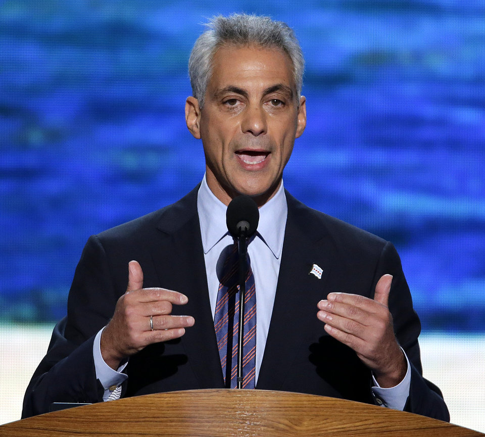 Photo - Chicago Mayor Rahm Emanuel addresses the Democratic National Convention in Charlotte, N.C., on Tuesday, Sept. 4, 2012. (AP Photo/J. Scott Applewhite)  ORG XMIT: DNC165