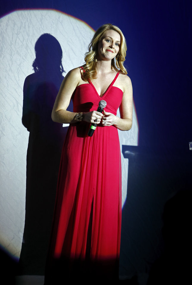 Miss America 2007 Lauren Nelson sings the National Anthem during the Oklahoma Speaker\'s Ball at the Embassy Suites Hotel on Friday, Feb. 1, 2013 in Norman, Okla. Photo by Steve Sisney, The Oklahoman