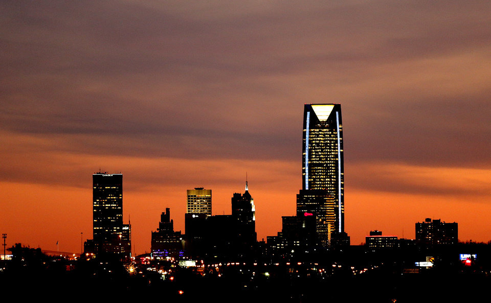 The downtown Oklahoma City skyline is seen as the sun sets on Tuesday, Jan. 7, 2014. Photo by Bryan Terry, The Oklahoman