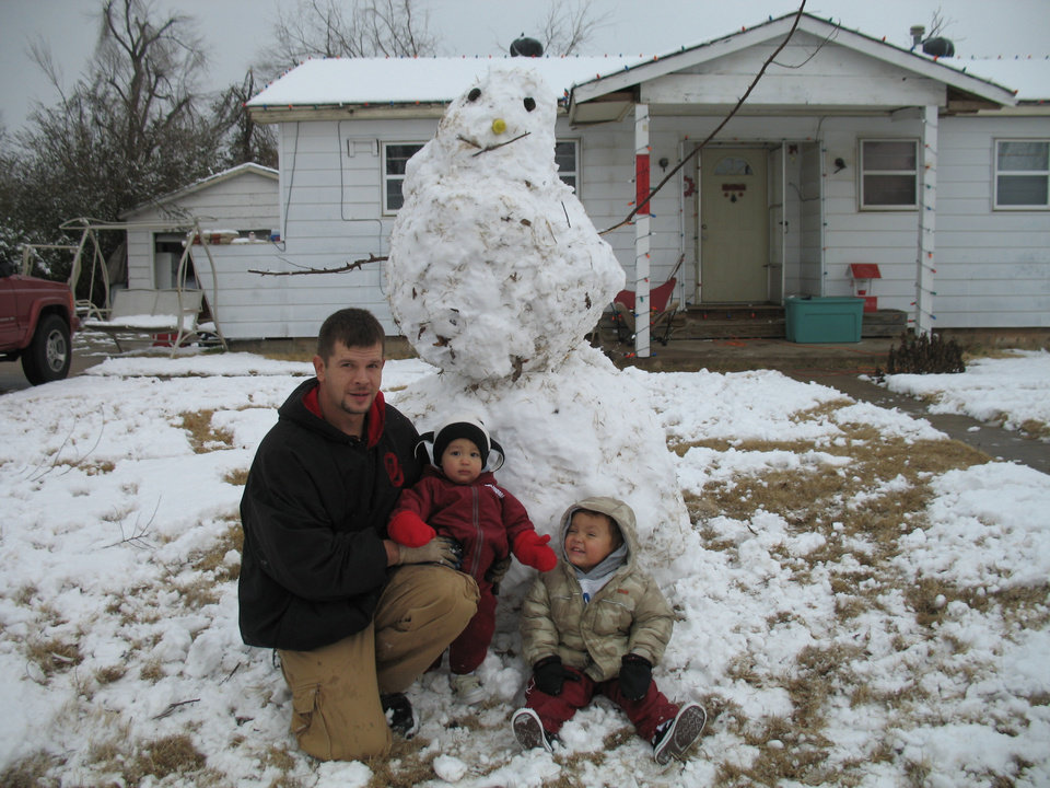 Our first Snowman!! By: Wesley, Peyton, and Brayden!<br/><b>Community Photo By:</b> Alexandria Tharp<br/><b>Submitted By:</b> Alexandria, Midwest City