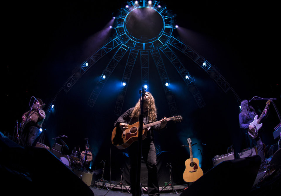 Photo -  Brent Cobb performs live on Nov. 17 at Chesapeake Energy Arena during the All-American Road Show tour stop in Oklahoma City. [Photo by Nathan Poppe, The Oklahoman]