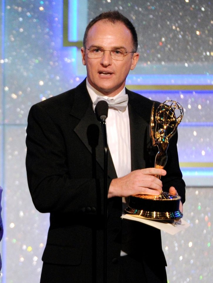 """Photo - Guillermo Arduino accepts the award for outstanding entertainment program in Spanish for """"Clix"""" at the 41st annual Daytime Emmy Awards at the Beverly Hilton Hotel on Sunday, June 22, 2014, in Beverly Hills, Calif. (Photo by Chris Pizzello/Invision/AP)"""