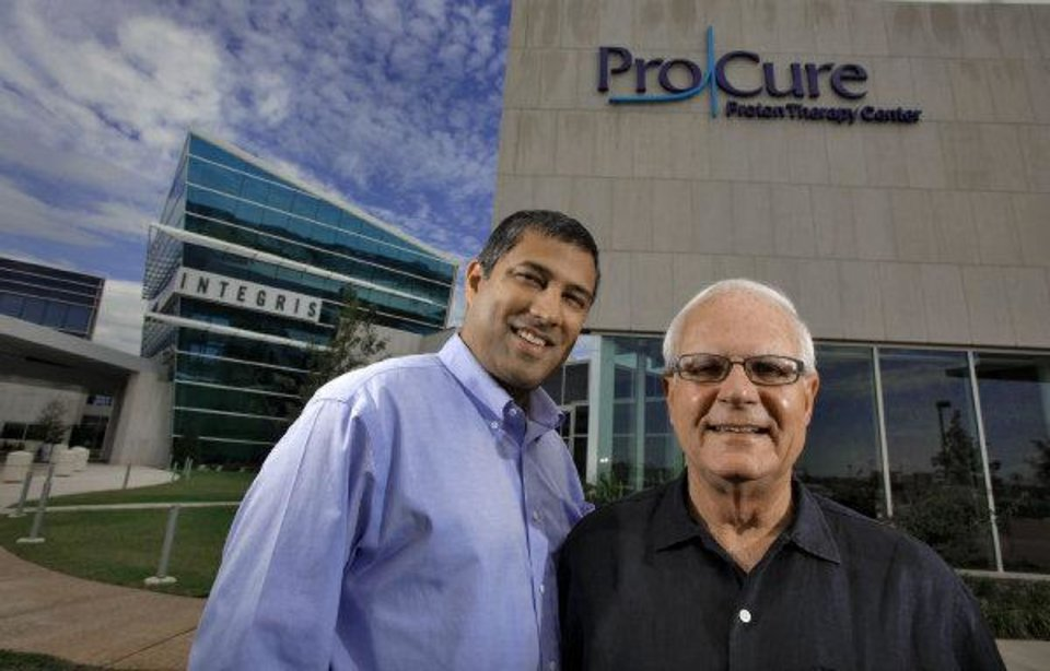 Photo - ProCure celebrates one year of operation. Shown are Medical Director Sameer Keole and patient Dick Marshall who has completed treatment.  CHRIS LANDSBERGER - CHRIS LANDSBERGER