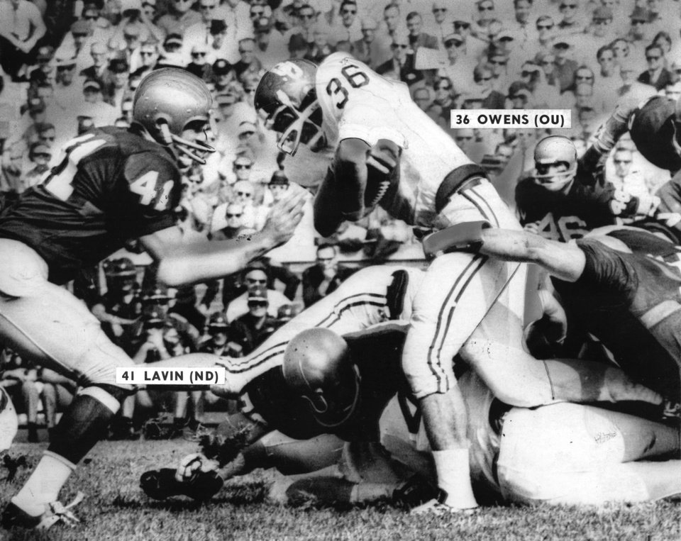 OU\'s Steve Owens fights for a two-yard gain against the Fighting Irish of Notre Dame in the University of Oklahoma\'s 1968 football opener in South Bend. The Irish beat the Sooners 45-21. PHOTO FROM THE OKLAHOMAN ARCHIVES