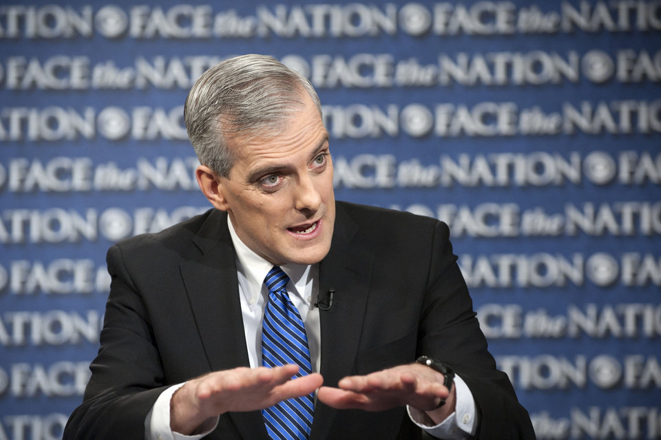Photo - In this Sunday, Feb. 17, 2013, file photo provided by CBS News new White House Chief or Staff Denis McDonough speaks on CBS's