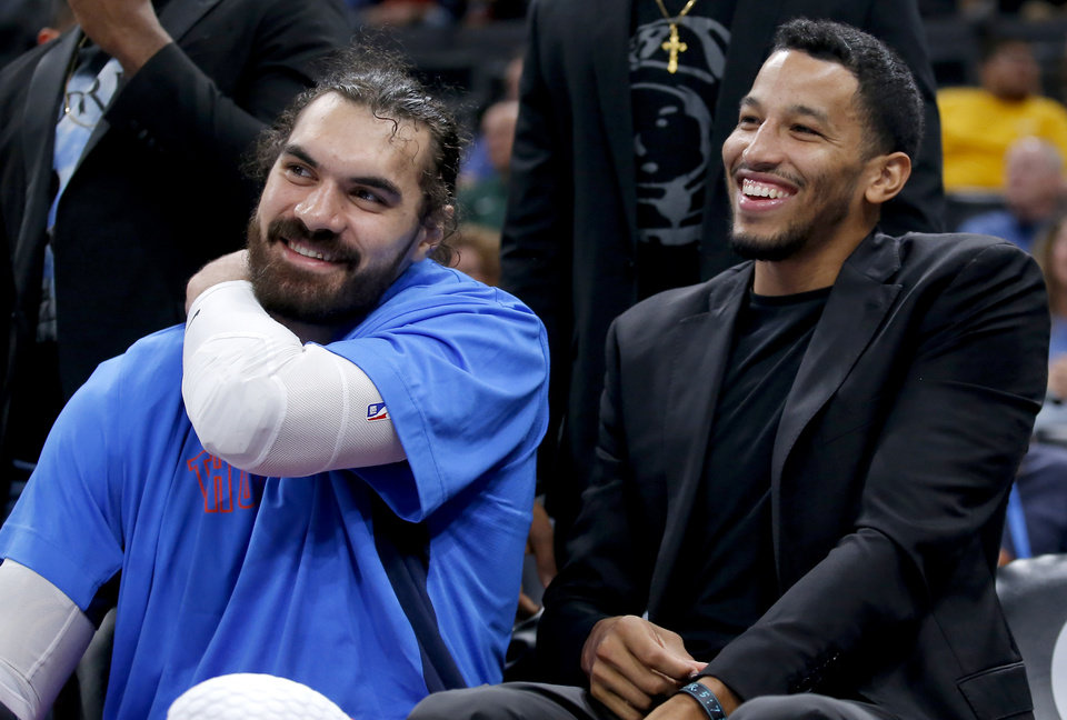 Photo - during the NBA game between the Oklahoma City Thunder and Golden State Warriors at Chesapeake Energy Arena,  Sunday, Oct. 27, 2019. Thunder won 120-92.[Sarah Phipps/The Oklahoman]