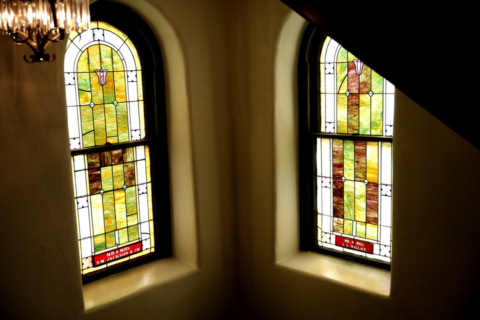 Photo - The stained-glass windows are pictured at the Vernon A.M.E Church in the Greenwood district in Tulsa, Okla., Wednesday, July 29, 2020. Photo by Sarah Phipps, The Oklahoman