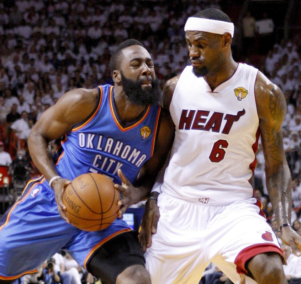 Oklahoma City\'s James Harden (13) tries to get past Miami\'s LeBron James (6) during Game 5 of the NBA Finals between the Oklahoma City Thunder and the Miami Heat at American Airlines Arena, Thursday, June 21, 2012. Photo by Bryan Terry, The Oklahoman