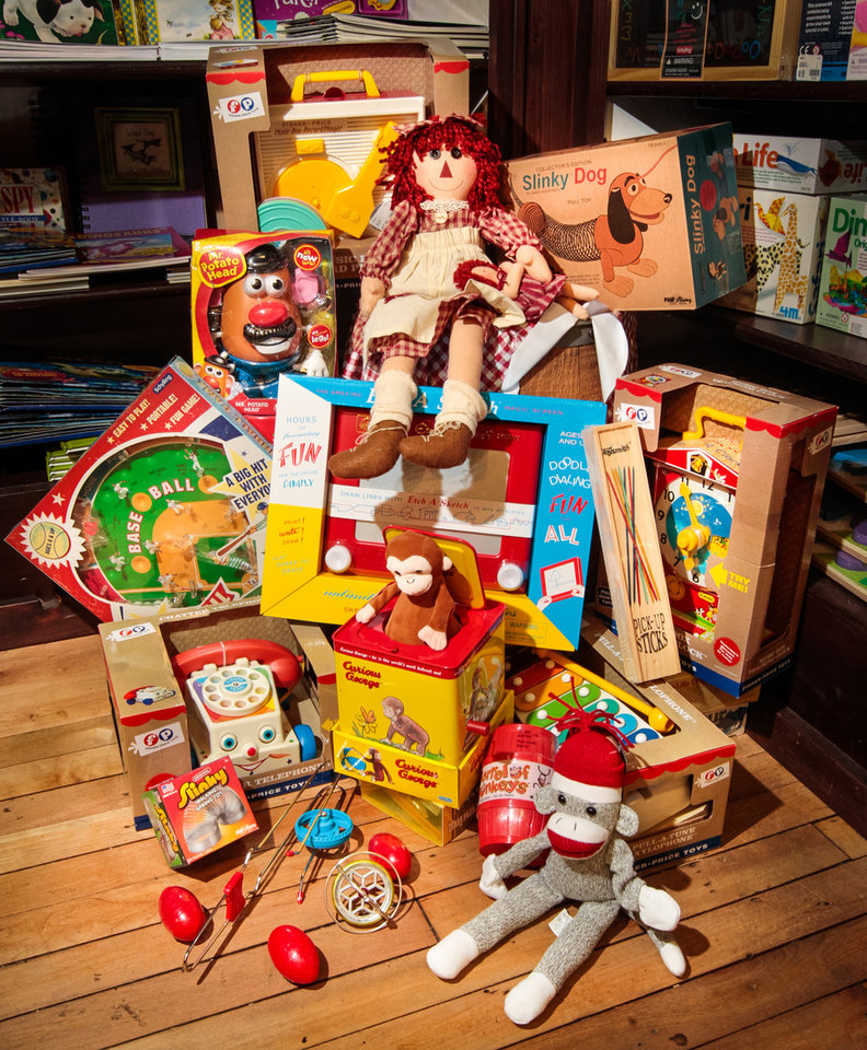 Retro toys have made a comeback among kids in the 2012 holiday shopping season, including these toys from yesteryear at Mast General Store in Columbia, South Carolina. (Tim Dominick/The State/MCT)